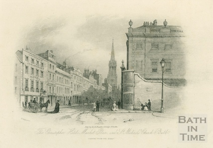 The Christopher Hotel, Market Place and St. Michael's Church, Bath 1844