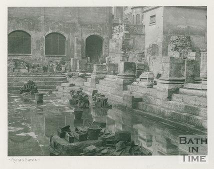 Corner showing bases of columns, Roman Baths, Bath c.1900