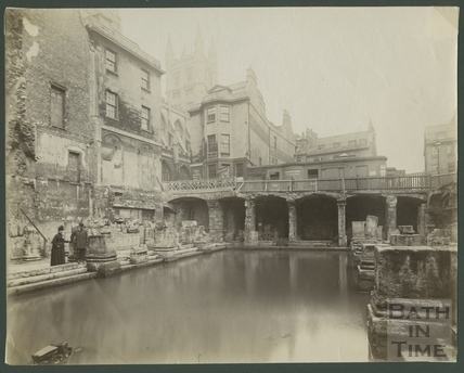 North east view of Great Roman Bath, Bath c.1880