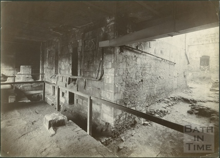 Roman Baths excavations under Queen's Bath, Bath c.1885