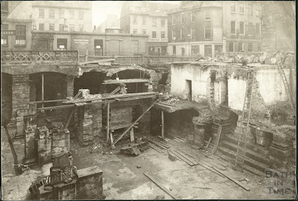 Roman Baths excavations, Bath c.1888