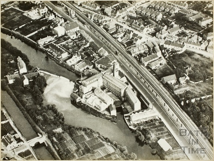 Aerial view of the River Avon, Twerton, Bath c.1940