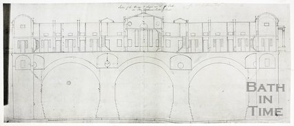 Section of Pulteney Bridge, Bath. South side as designed by Robert Adam