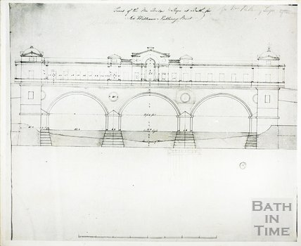 Downstream elevation of Pulteney Bridge, Bath as designed by Robert Adam