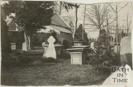 Third of five photographs showing churchyard, St. Michael's Church, Twerton, Bath c.1884