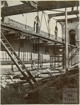 First of four photographs showing St. Michael's Church rebuilding in progress, Twerton, Bath 1885