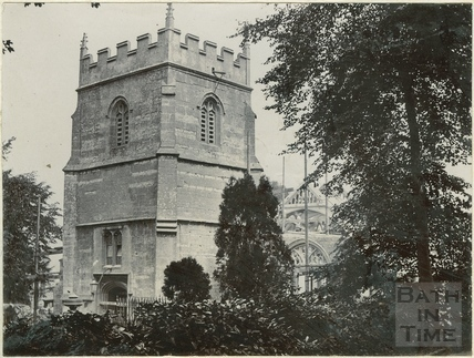 Fourth of four photographs showing St. Michael's Church rebuilding in progress, Twerton, Bath 1885