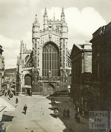 West front of Bath Abbey and Abbey Church Yard, Bath c.1930