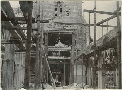 Third of four photographs showing St. Michael's Church rebuilding in progress, Twerton, Bath 1885