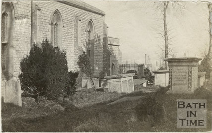 Fourth of five photographs showing churchyard, St. Michael's Church, Twerton, Bath c.1884