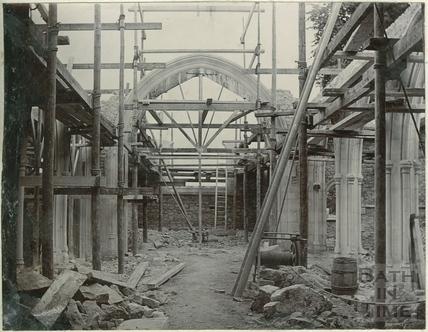 Second of four photographs showing St. Michael's Church rebuilding in progress, Twerton, Bath 1885