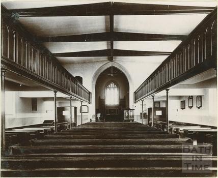 Interior before rebuilding, looking east, St. Michael's Church, Twerton, Bath