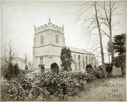 South view before rebuilding of 1885, St. Michael's Church, Twerton, Bath c.1884