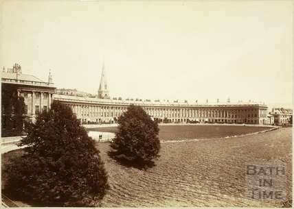The Royal Crescent with the Spire of St. Andrew's Church, Bath c.1890