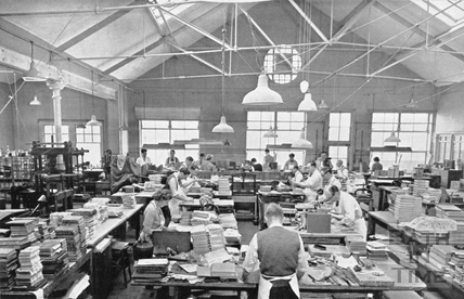 Staff at George Bayntun busy in the bookbinding workshop, Manvers Street  c.1955