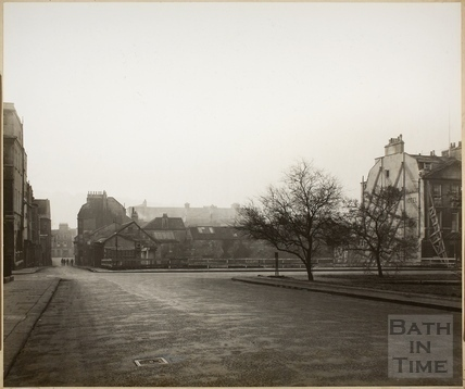 Queen Square and bombed section of the Francis Hotel, Bath c.1950
