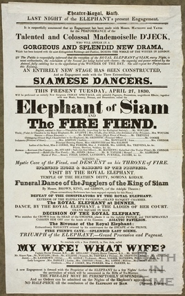 Playbill for the Elephant of Siam and The Fire Fiend, Theatre Royal, Bath 1830