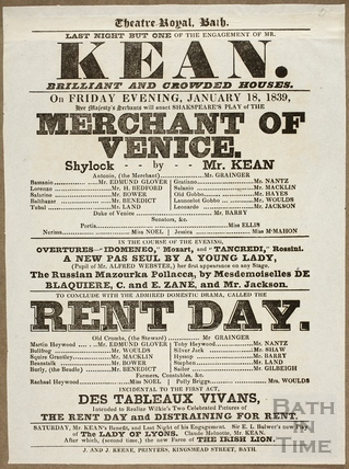 Playbill for the Merchant of Venice, Theatre Royal, Bath 1839