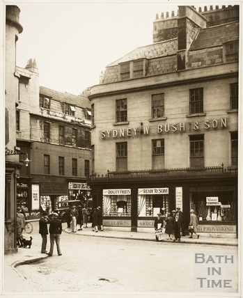 Bush's Corner from Monmouth Street before rebuilding, Westgate Buildings, Bath c.1925