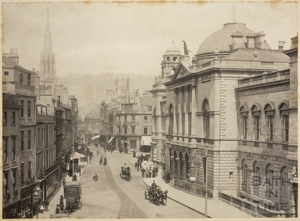 View from Bath Abbey of High Street and Guildhall, Bath c.1900