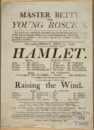Playbill for Hamlet, Theatre Royal, Bath 1806