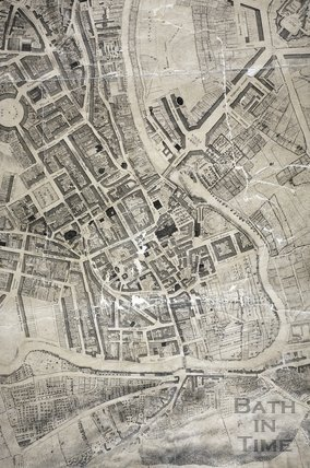 The City of Bath map by Charles Harcourt Masters 1808 - detail