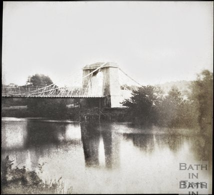 Part 2 of 2 section panorama of Dredge's Suspension Bridge, Bath 1849