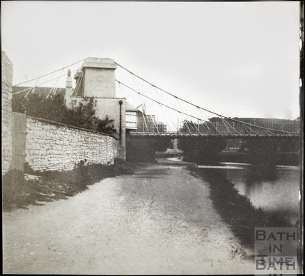 Part 1 of 2 section panorama of Dredge's Suspension Bridge, Bath 1849