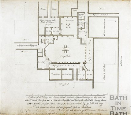 Plan of the King's and Queen's Baths with their adjacent buildings as they now are (when drawn), Bath