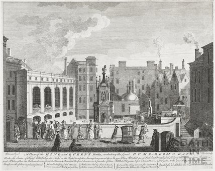 A View of the King's and Queen's Baths, including the Great Pump Room, Bath 1764