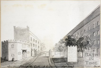London Turnpike Gate at Grosvenor, Bath 1826