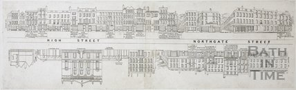 Street Panorama - High Street and Northgate Street, Bath c.1840