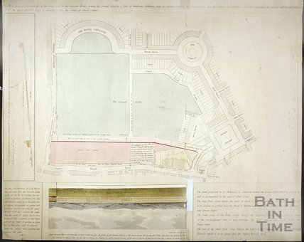 Plan of proposed improvements on the lower part of the Crescent Fields in front of The Royal Crescent 1810