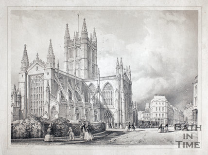 Abbey Church from the Orange Grove, Bath 1850