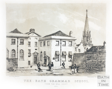 The Bath Grammar School from the Ball Court, Broad Street, Bath 1842