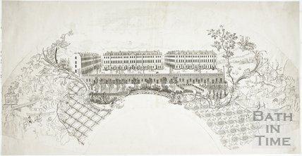 Fan view of South Parade, Bath c.1757