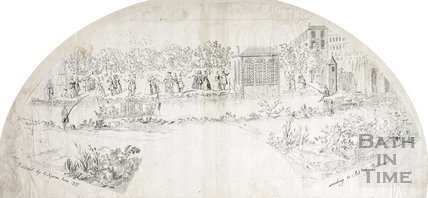 Fan view of the Pleasure Gardens prior to construction of North Parade, Bath 1737