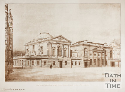 Pump Room Buildings, Bath. Revised design. Exterior view. Mr J.M. Brydon FRIBA Architect 1895