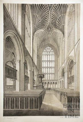View of the Choir, Bath Abbey, Bath 1845