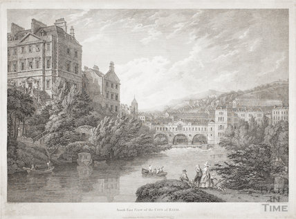 South East View of the City of Bath (and old ferry) 1792