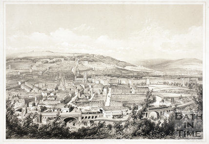 Bath from Beechen Cliff. Early view of Great Western Railway c.1848