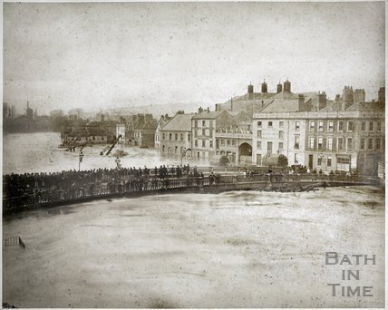 Floods, Broad Quay and Old Bridge, Bath 1882