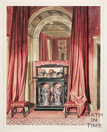 Black Cabinet in Crimson Drawing Room, Lansdown Tower, Bath 1844