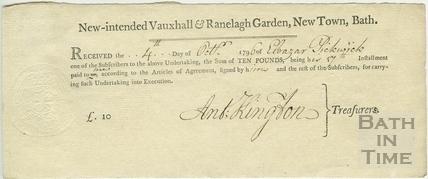 Receipt for subscription instalment. New-intended Vauxhall & Ranelagh Garden, New Town, Bath 1796