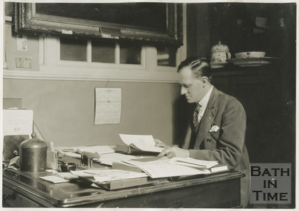 R.W.M. Wright in the Municipal Library, Bridge Street, Bath c.1925