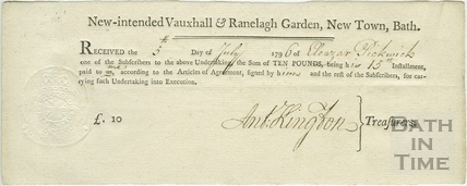 Receipt for subscription instalment. New-intended Vauxhall & Ranelagh Garden, New Town, Bath 1796