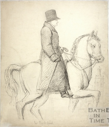 Pencil sketch of man on horse with Beckford's Tower in the background