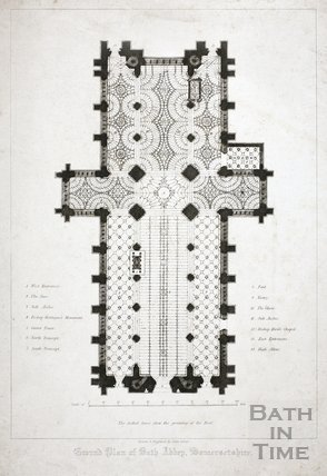 Ground Plan Of Bath Abbey Somersetshire By 11618 At Bath