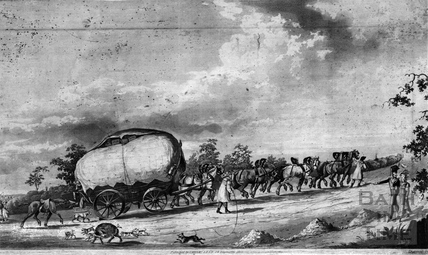 Coach and horses on the road to Bath 1825