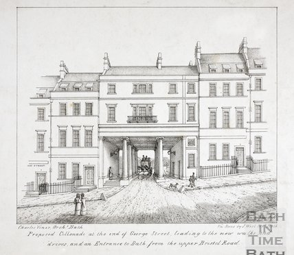 Proposed Colonnade at the end of George Street, leading to the new walks and drives, and an Entrance to Bath, from the Upper Bristol Road, Bath c.1821